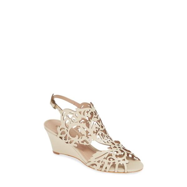 クラブニコ レディース サンダル シューズ Marcela Laser Cutout Wedge Sandal Ivory Leather