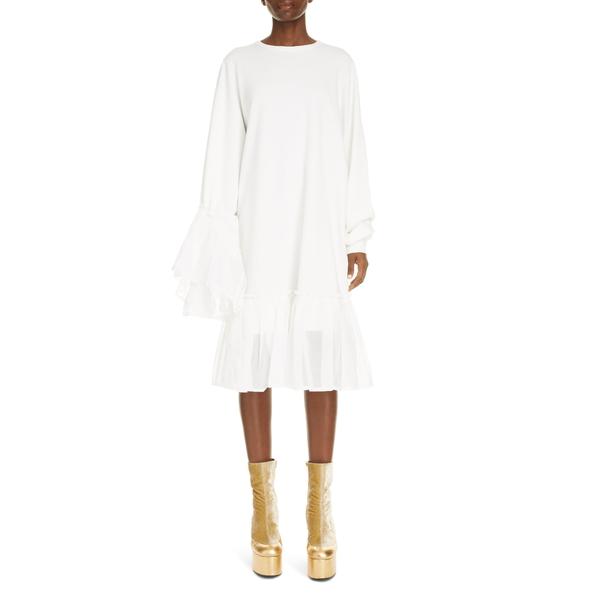 ドリス・ヴァン・ノッテン レディース ワンピース トップス Asymmetrical Ruffle Long Sleeve Shift Dress White