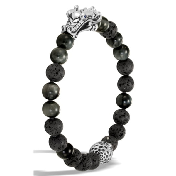 ジョン・ハーディー メンズ ブレスレット・バングル・アンクレット アクセサリー Men's Legends Naga Bead Bracelet Grey