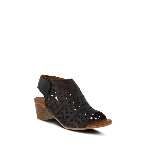 スプリングステップ レディース サンダル シューズ Dorotha Block Heel Sandal Black Leather
