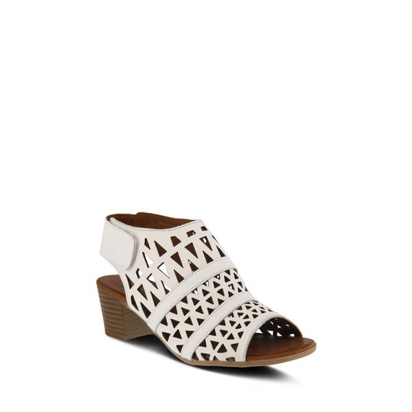 スプリングステップ レディース サンダル シューズ Dorotha Block Heel Sandal White Leather
