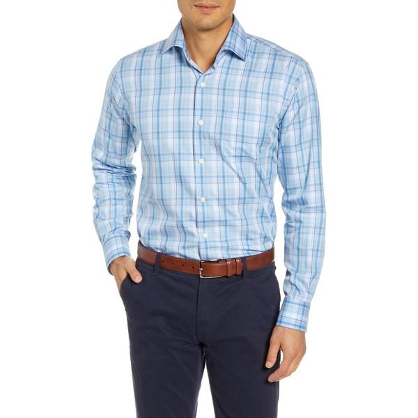 ピーター・ミラー メンズ シャツ トップス Avery Regular Fit Plaid Cotton & Silk Button-Up Shirt Tropical Blue