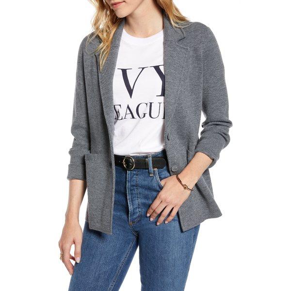 ワンナインオーワン レディース ジャケット&ブルゾン アウター Stretch Wool Blend Sweater Blazer Grey Dark Heather