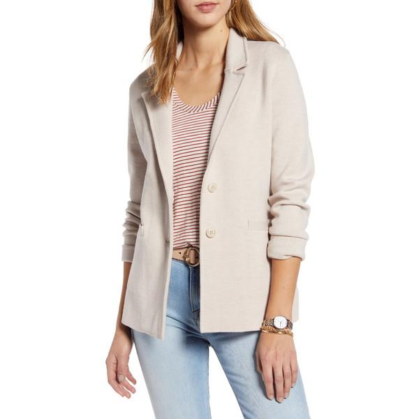 ワンナインオーワン レディース ジャケット&ブルゾン アウター Stretch Wool Blend Sweater Blazer Beige Oatmeal Heather