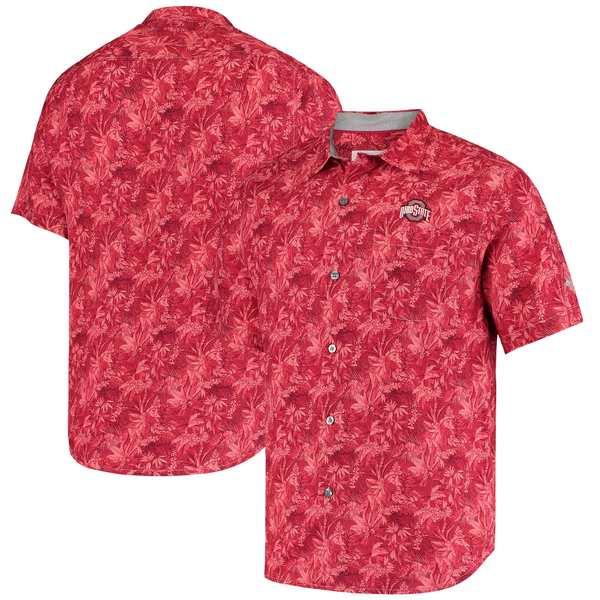 トッミーバハマ メンズ シャツ トップス Ohio State Buckeyes Tommy Bahama Sport Jungle Shade Camp ButtonUp Shirt Scarlet