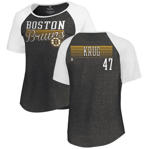 ファナティクス レディース Tシャツ トップス Boston Bruins Fanatics Branded Women's Personalized Assist TriBlend Raglan TShirt Black/White