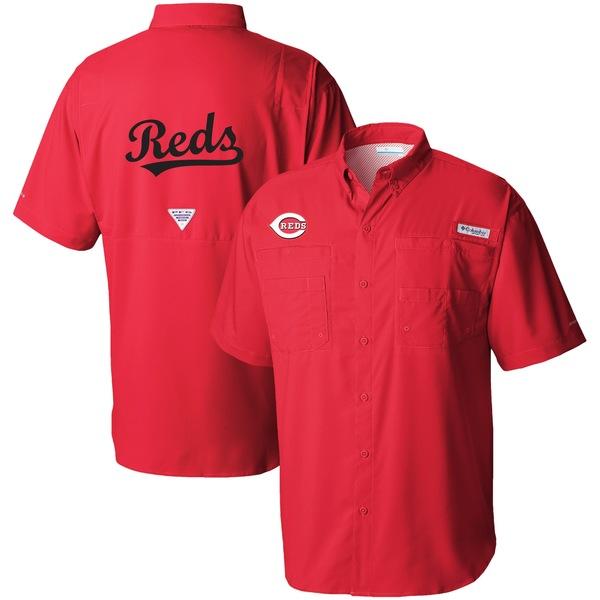 コロンビア メンズ シャツ トップス Cincinnati Reds Columbia Tamiami OmniShade ButtonDown Shirt Red