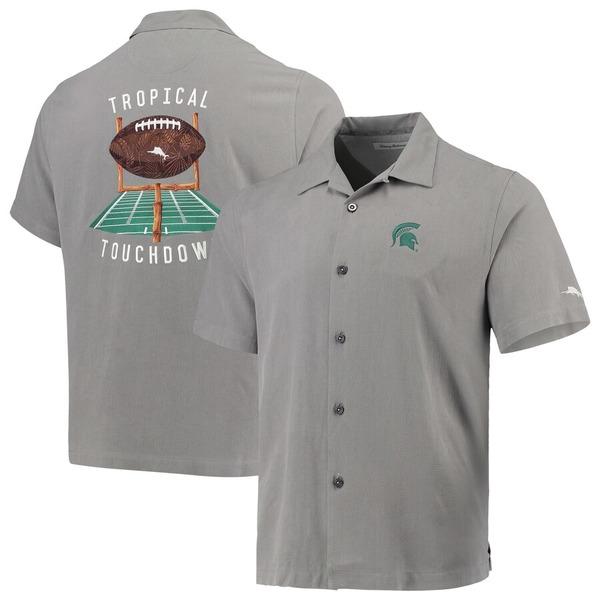 トッミーバハマ メンズ シャツ トップス Michigan State Spartans Tommy Bahama Tropical Touchdown Camp Button-Up Shirt Gray