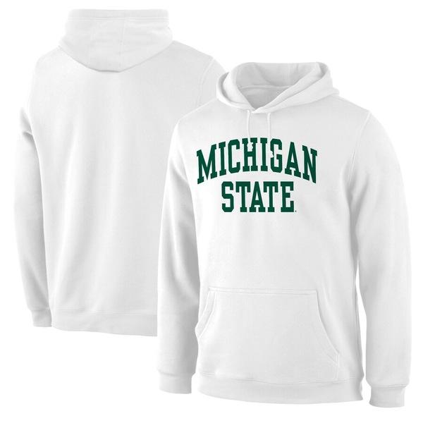 ファナティクス メンズ パーカー・スウェットシャツ アウター Michigan State Spartans Basic Arch Pullover Hoodie White