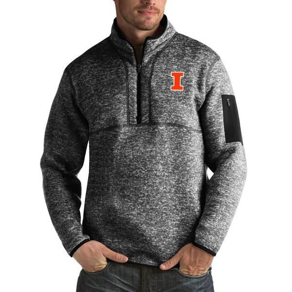 アンティグア メンズ ジャケット&ブルゾン アウター Illinois Fighting Illini Antigua Fortune Big & Tall Quarter-Zip Pullover Jacket Black