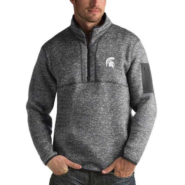 アンティグア メンズ ジャケット&ブルゾン アウター Michigan State Spartans Antigua Fortune 1/2-Zip Pullover Sweater Heathered Charcoal