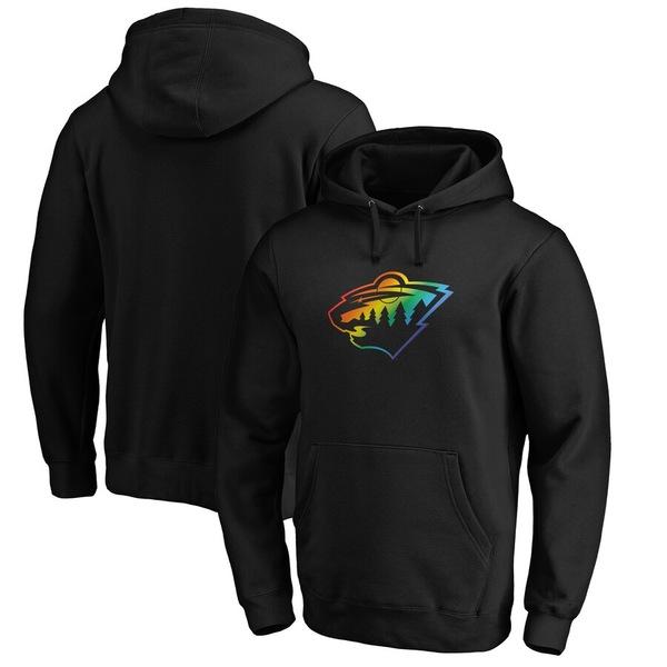 ファナティクス メンズ パーカー・スウェットシャツ アウター Minnesota Wild Fanatics Branded Team Pride Logo Pullover Hoodie Black