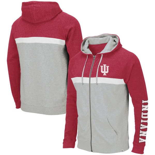 コロシアム メンズ パーカー・スウェットシャツ アウター Indiana Hoosiers Colosseum Colorblocked Full-Zip Hooded Sweatshirt Heathered Gray/Crimson