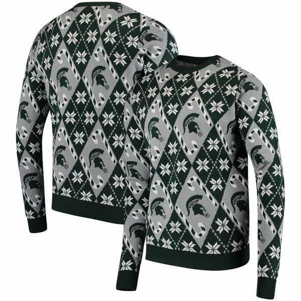 フォコ メンズ シャツ トップス Michigan State Spartans Candy Cane Repeat Crew Neck Sweater Gray