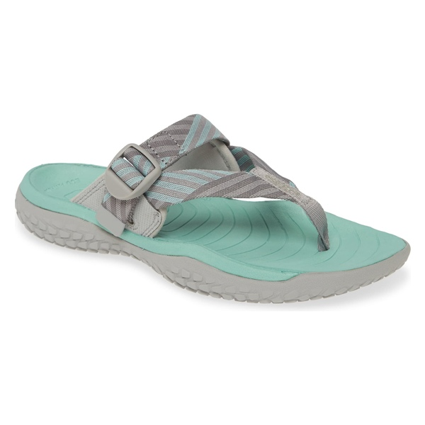 キーン レディース サンダル シューズ Keen Solar Toe Flip Flop (Women) Light Gray/ Ocean Wave Fabric