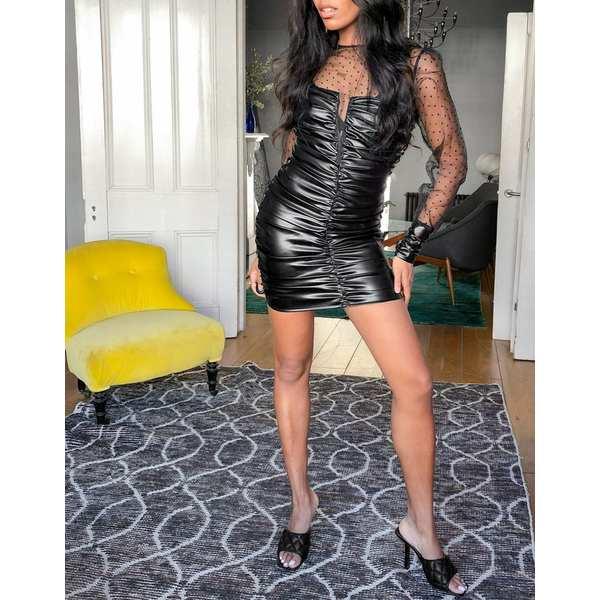 エイソス レディース トップス ワンピース Black 全商品無料サイズ交換 ASOS DESIGN PU sweetheart black mesh dress ruched (人気激安) with in textured neck 1年保証 high mini