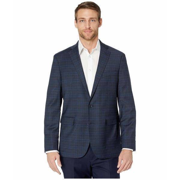 コールハーン メンズ コート アウター Slim Fit Suit Separate Coat Blue Plaid