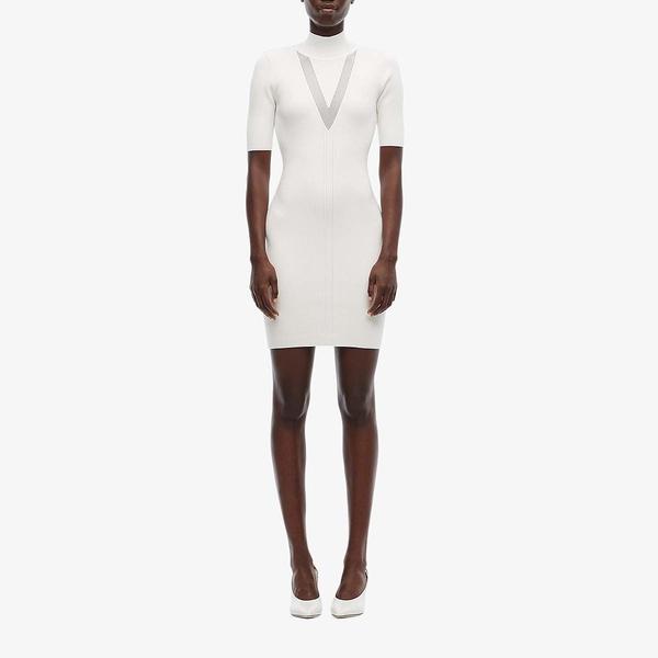 クシュニーエオクス レディース ワンピース トップス Mock Neck Long Sleeved Knit Mini Dress with Sheer White