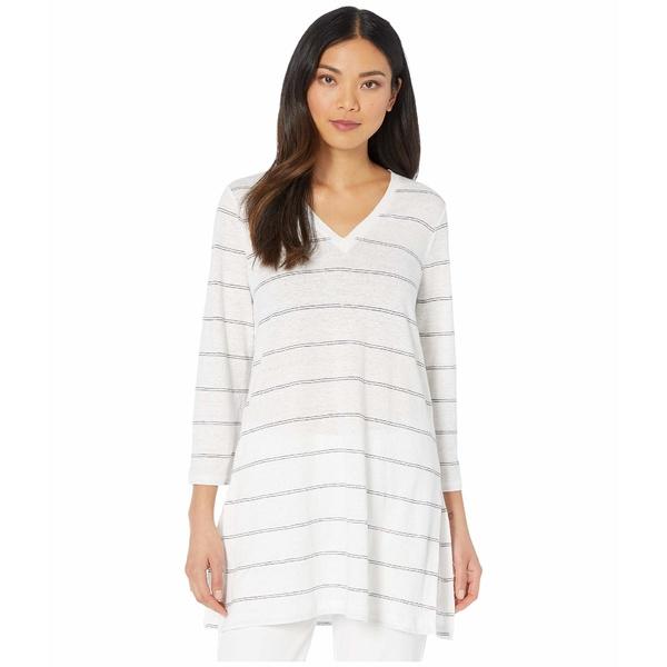 エイリーンフィッシャー レディース シャツ トップス Striped Organic Linen Jersey V-Neck 3/4 Sleeve Tunic White