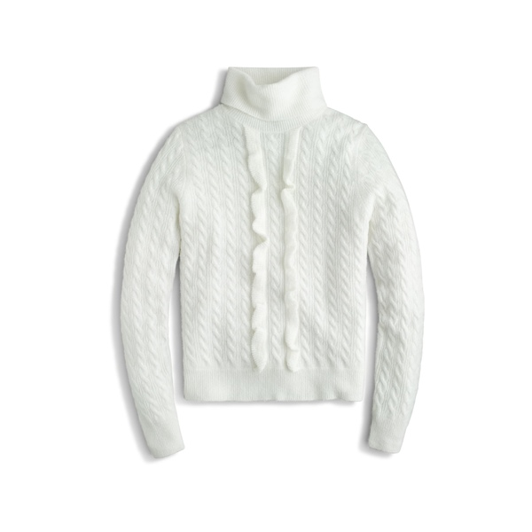 ジェイクルー レディース ニット&セーター アウター J.Crew Supersoft Ruffle Front Turtleneck (Regular & Plus Size) Ivory