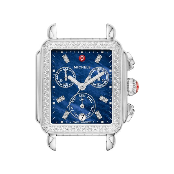 ミッシェル レディース 腕時計 アクセサリー MICHELE Deco Diamond Diamond Dial Watch Head & Bracelet, 33mm x 35mm Silver/ Deep Blue Mop
