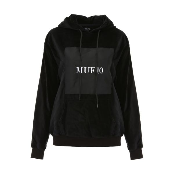 エムユーエフ10 レディース パーカー・スウェットシャツ アウター MUF10 Printed Velvet Hoodie BLACKBlack