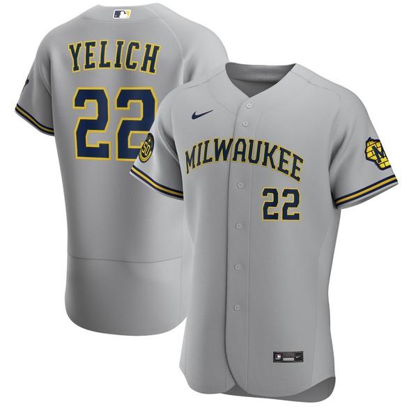 ナイキ メンズ ユニフォーム トップス Christian Yelich Milwaukee Brewers Nike Alternate 2020 Authentic Player Jersey Navy