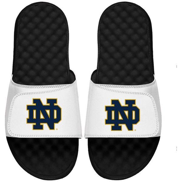 アイスライド メンズ サンダル シューズ Notre Dame Fighting Irish ISlide Secondary Logo Slide Sandals White