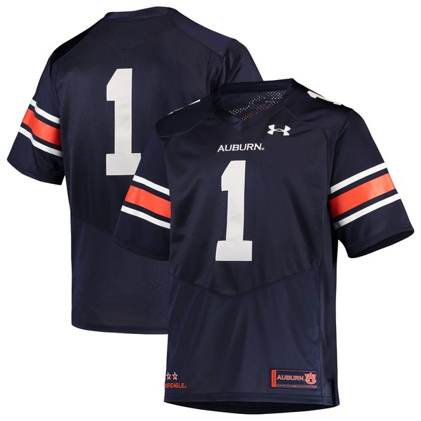 アンダーアーマー メンズ ユニフォーム トップス #1 Auburn Tigers Under Armour Logo Premier Football Jersey White