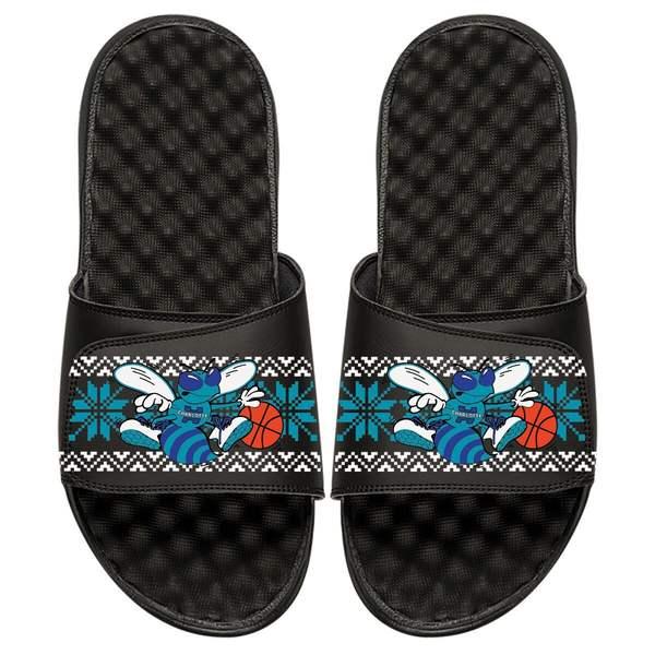 アイスライド メンズ サンダル シューズ Charlotte Hornets ISlide Ugly Sweater Slide Sandals Black