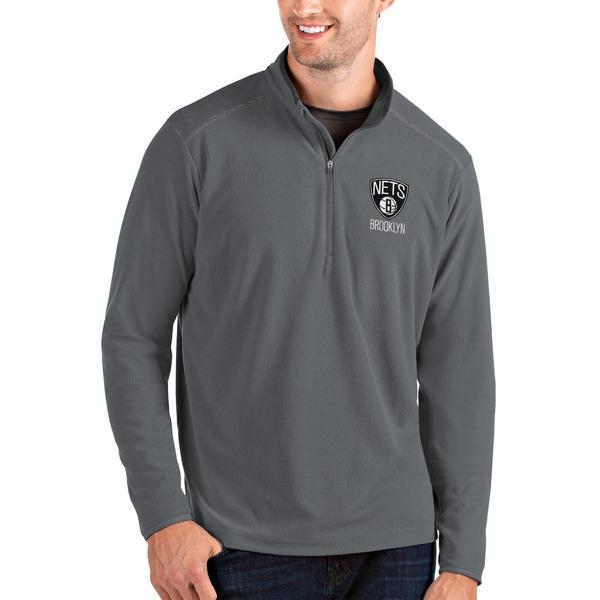 アンティグア メンズ ジャケット&ブルゾン アウター Brooklyn Nets Antigua Glacier QuarterZip Pullover Jacket Black/Gray