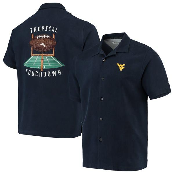 トッミーバハマ メンズ シャツ トップス West Virginia Mountaineers Tommy Bahama Tropical Touchdown Camp ButtonUp Shirt Navy