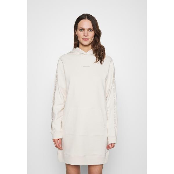 Day トップス sand LOGO カルバンクライン white レディース dress - ワンピース kxpd0109 DRESS HOODIE - TRIM