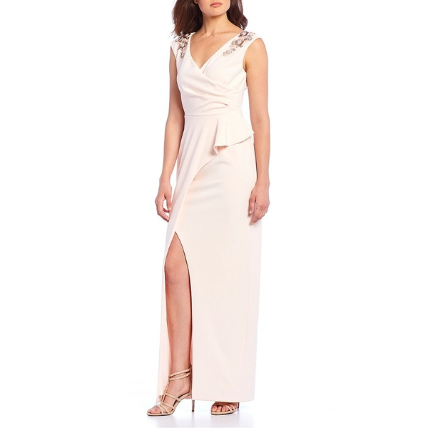 アドリアナ Satin パペル レディース パペル ワンピース トップス Wrap Bodice Sleeveless Wrap Embellished Ruffle Gown Satin Blush, シラヌヒマチ:70f61da6 --- officewill.xsrv.jp
