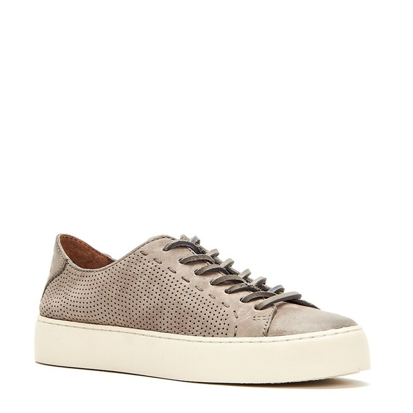 フライ レディース スニーカー シューズ Lena Perforated Leather Low Lace Sneakers Grey