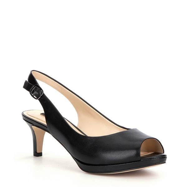 アレックスマリー レディース パンプス シューズ Melanie Leather Slingback Peep-Toe Pumps Black