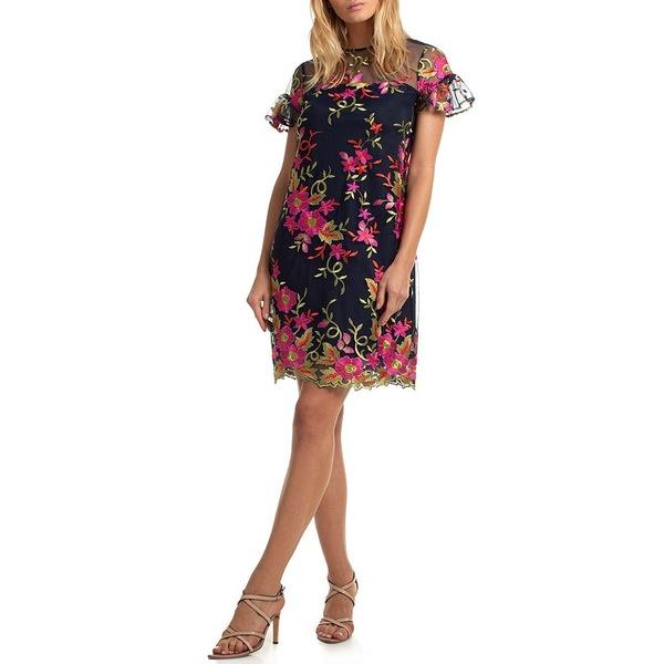トリーナターク レディース ワンピース トップス Floral Embroidered Shift Dress Navy Multi