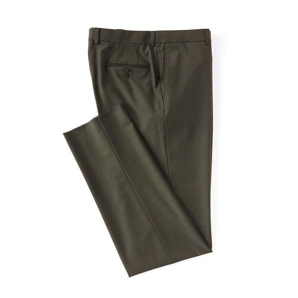クレミュ メンズ カジュアルパンツ ボトムス Modern Fit Flat Front Solid Dress Pants Olive