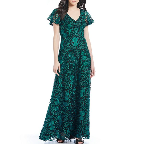 カルメンマークヴァルヴォ レディース ワンピース トップス V-Neck Embroidered A-Line Gown Black/Emerald