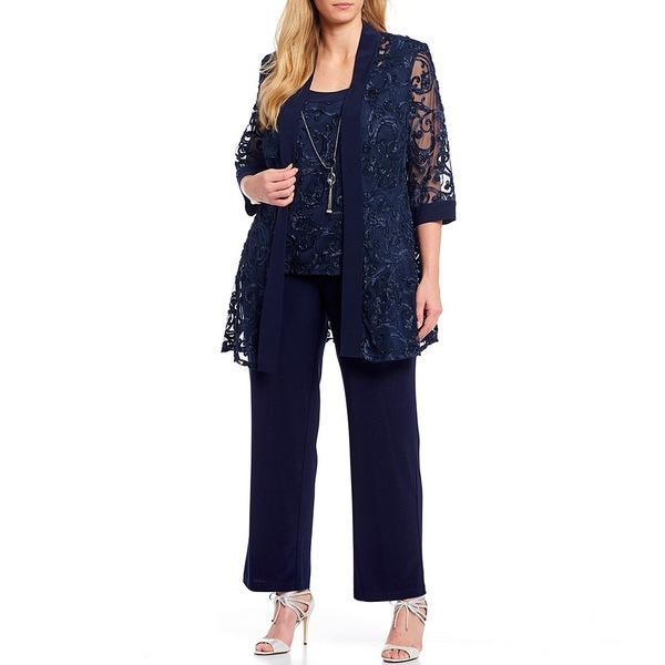 アールアンドエムリチャーズ レディース カジュアルパンツ ボトムス Plus Size Embroidered Soutache Mesh Lace 3 Piece Pant Set Navy