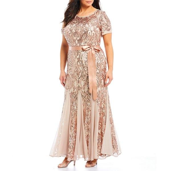 アールアンドエムリチャーズ レディース ワンピース トップス Plus Size Sequin Lace Embroidered Gown Champagne