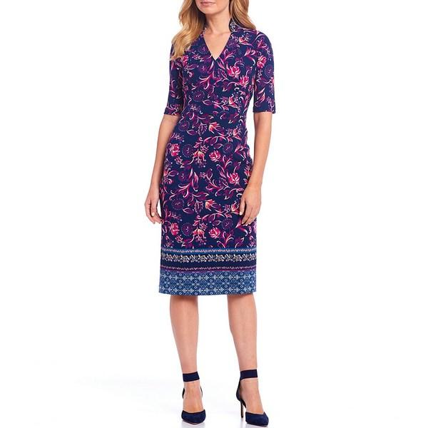 マギーロンドン レディース ワンピース トップス Petite Size Scuba Crepe Floral Print Sheath Dress Navy/Magenta
