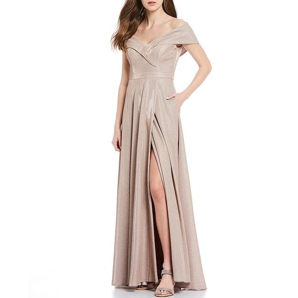 エスケープ レディース ワンピース トップス Off-The-Shoulder Sweetheart Neck Pleated Glitter Ball Gown Blush Silver
