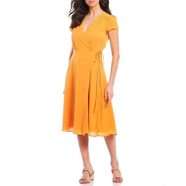 アレックスマリー レディース ワンピース トップス Brie V-Neck Soft Crepe Wrap Machine Washable Dress Tangerine