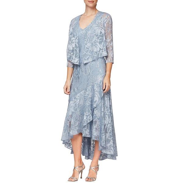 アレックスイブニングス レディース ワンピース トップス Chiffon Metallic Floral Print Hi-Low Flounce Hem Cascade 2-Piece Jacket Dress Hydrangea