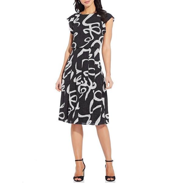 アドリアナ パペル レディース ワンピース トップス Dotted Ribbon Blouson Pleated Skirt Midi Dress Black/Multi
