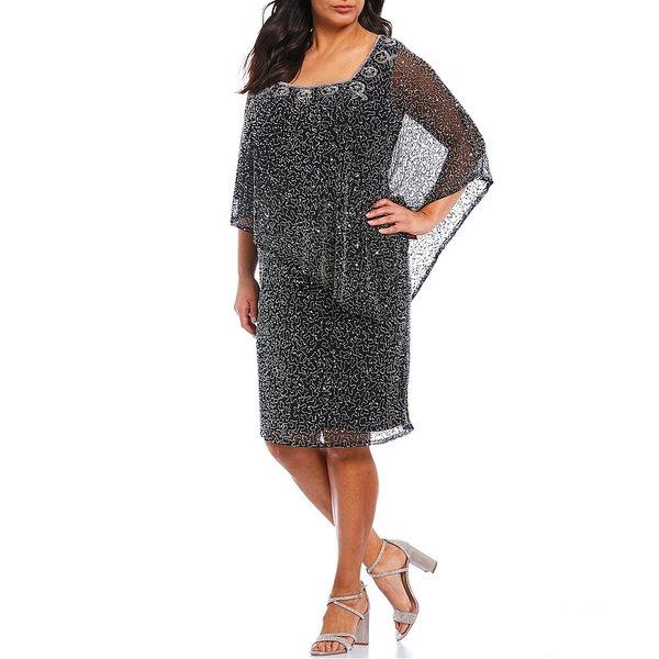 ピサッロナイツ レディース ワンピース トップス Plus Size Beaded Square Neck Sheath Capelet Dress Black