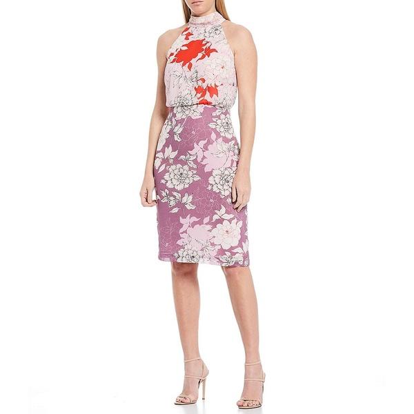 バッジェリーミシュカ レディース ワンピース トップス Rhisa Floral Print Georgette Halter Tie Neck Blouson Dress Lilac Multi