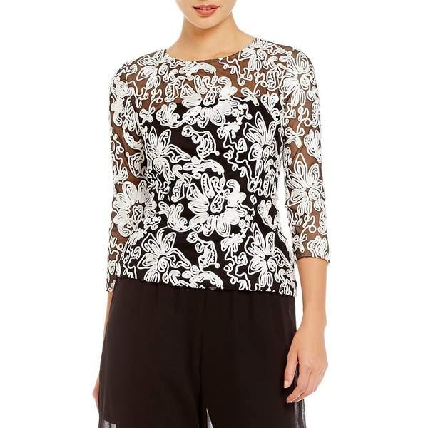 アレックスイブニングス レディース ワンピース トップス Embroidered Illusion Lace Blouse Black/White