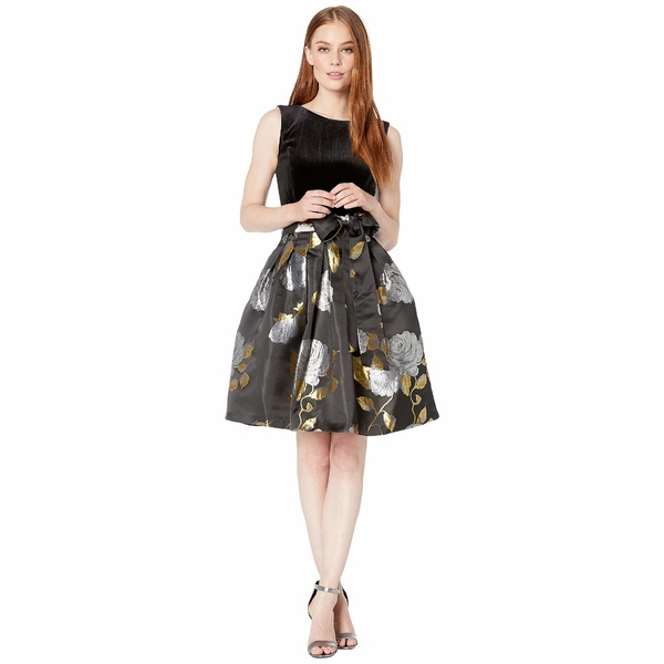 タハリ レディース ワンピース トップス Stretch Velvet Bodice with Printed Floral Jacquard Skirt Black/Gold Roses